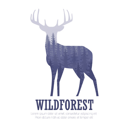 Silhouette of a deer with pine forest, blue and white colors background Stock Illustratie