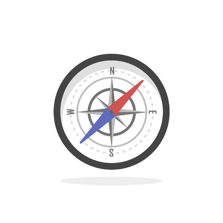cartography: Vintage brass travel compass isolated geography east direction travel vector illustration. Cartography and navigation icon