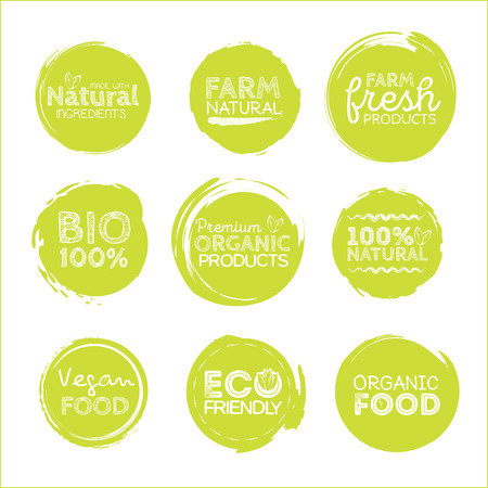 headings: Green Eco Food Labels. Health Headings. Vector Illustration Collection.