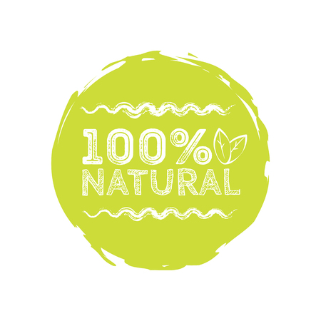 Logo 100% Natural with leaves, natural product, organic, healthy food. Organic food badge in vector (cosmetic, food). Lettering 100% Natural Illustration