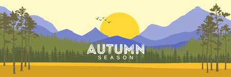 mountain meadow: Autumn landscape with yellow meadow, forest, mountain and lake on a cloudy sky. Illustration