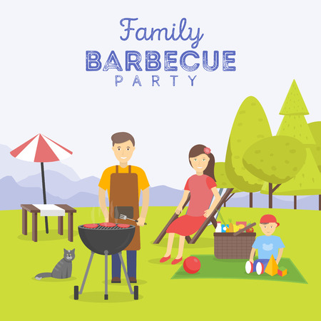 family picnic: Family picnic. Bbq party. Food and barbeque, summer and grill. Vector illustration