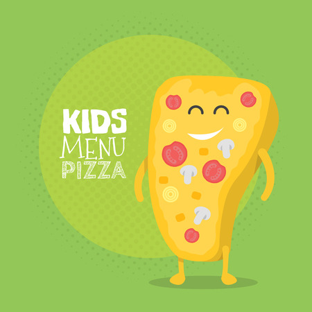 pizza place: Kids restaurant menu cardboard character. Template for your projects, websites, invitations. Funny cute drawn pizza, with a smile, eyes and hands.