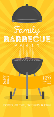 charcoal grill: Lovely vector barbecue party invitation design template. Trendy BBQ cookout poster design with classic charcoal grill, fork, cooking paddle and sample text Illustration