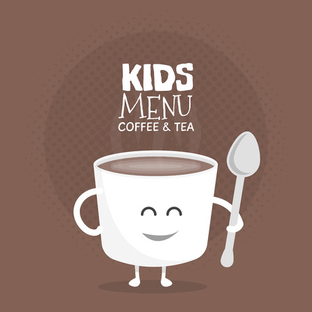 Kids restaurant menu cardboard character. Template for your projects, websites, invitations. Funny cute mug coffee drawn with a smile, eyes and hands.