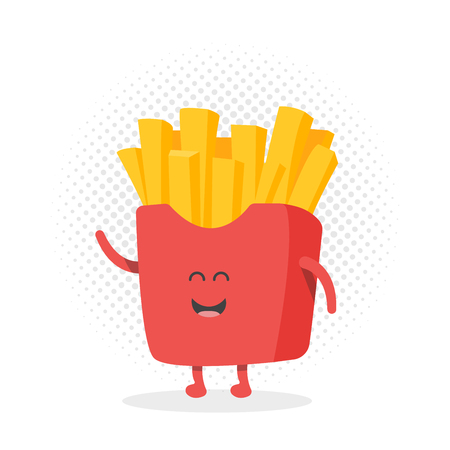 eating food: Kids restaurant menu cardboard character. Template for your projects, websites, invitations. Funny cute drawn french fries, with a smile, eyes and hands.