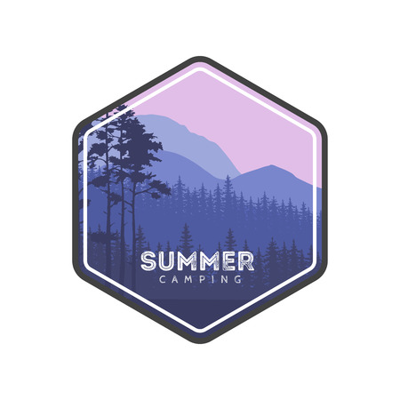 conifers: Summer camping label. Hiking family vacation in the mountains and forest. Conifers panorama. Tourism Trips banner