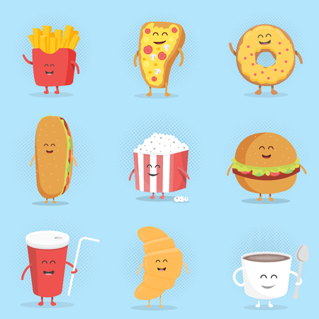 Set of cute cartoon fast food characters . French fries , pizza , donut , hot dog , popcorn , hamburger , cola , croissant and coffee mug . Template for menu of cafes and restaurants . Kids food. Иллюстрация