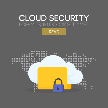 safety net: Cloud security banner concept. Map background. Vector illustration