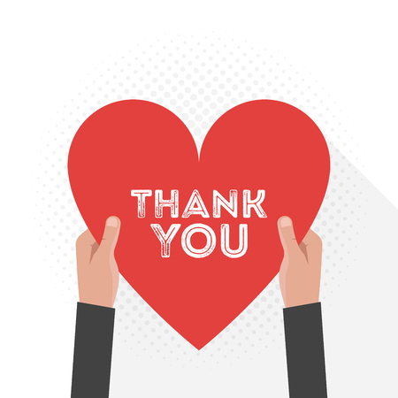 Thank You Lettering Signboard Hold Hand Flat Vector Design. Vector illustration