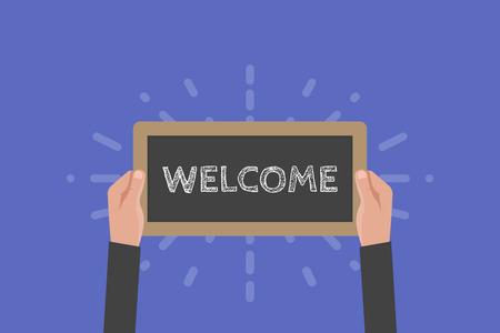 hand holding sign: Hand holding sign welcome vector illustration. Chalkboard Illustration