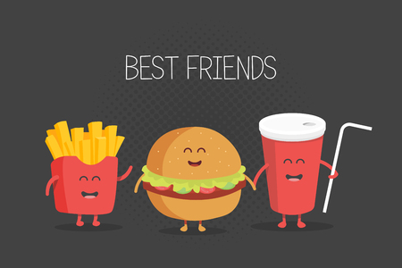 Cute fast food burger, soda, french fries. Vector cartoon. Friends forever.
