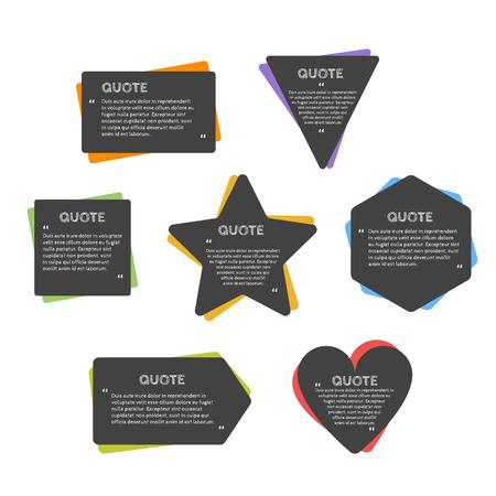 Aanhalingsteken tekstballon. Lege citaat blanco citaat sjabloon. Rechthoek design element voor het visitekaartje, vel papier, informatie, nota, bericht, motivatie, commentaar enz. Vector illustratie.