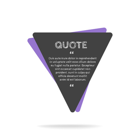 square sheet: Quotation mark speech bubble. Empty quote blank citation template. Square design element for business card, paper sheet, information, note, message, motivation, comment etc. Vector illustration. Illustration