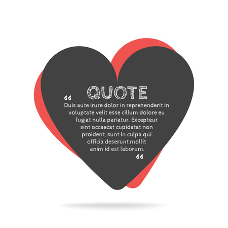 citation: Quotation mark speech bubble. Empty quote blank citation template. Heart design element for business card, paper sheet, information, note, message, motivation, comment etc. Vector illustration. Illustration