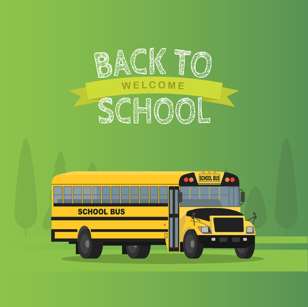 yellow schoolbus: Vector yellow school bus isolated on green background. Illustration