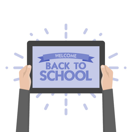hand holding sign: Hand holding sign back to school vector illustration. Tablet.