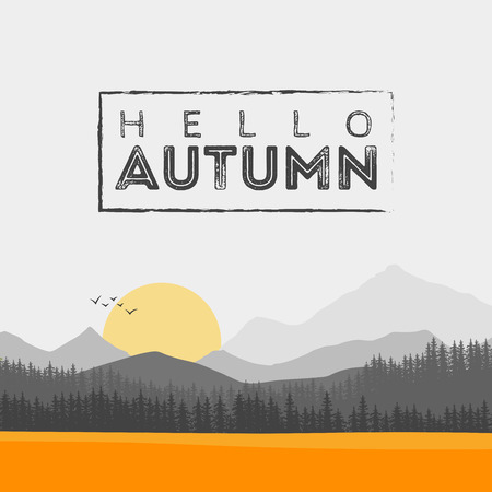 autumn landscape: Vector of autumn landscape. Forest and leaters Illustration