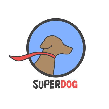 super dog: Blue super dog with a cape - vector illustration. Illustration