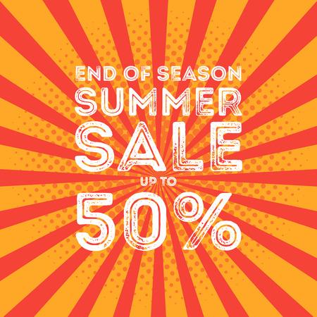 end of summer: End of season summer big sale banner.