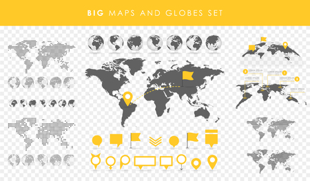 Big set of maps and globes. Pins collection. Different effects. Transparent Vector illustration. Vettoriali