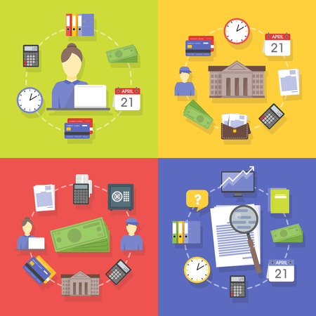 Vector collection of flat and colorful business and finance concepts. Design elements for web and mobile applications.