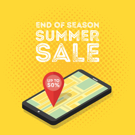 3d mobile digital marketing concept. Isometric smartphone with map and tags. Retro vintage style Vector illustration