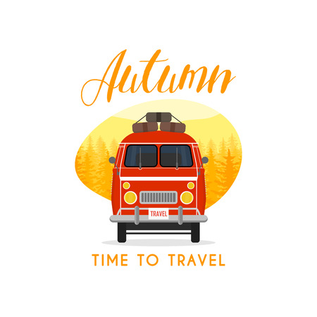 family car: Autumn time family travel and trip. The family car. Vector illustration.