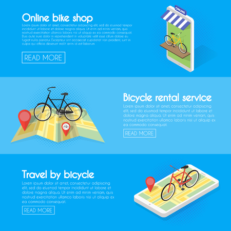 rentals: Set Bicycle banners. Buy online bike rentals, service, sales. Isometric facade of the store concept illustration.
