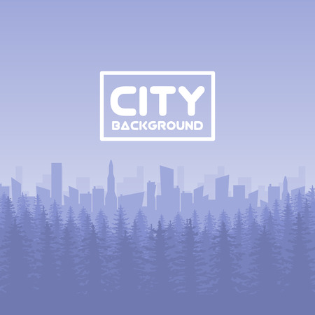 panorama: Panorama of vector city with forest illustration