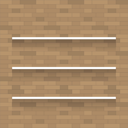 wooden shelf: Empty wooden shelf for exhibit on brick wall texture background.