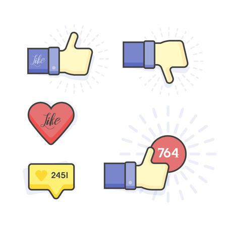 Modern Set of thumb up and like icons.