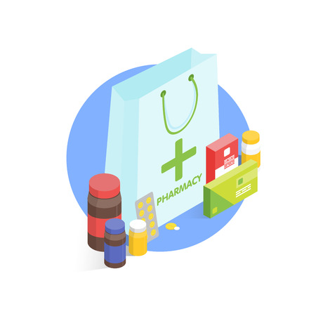 Modern pharmacy and drugstore concept. Isometric simple illustration.