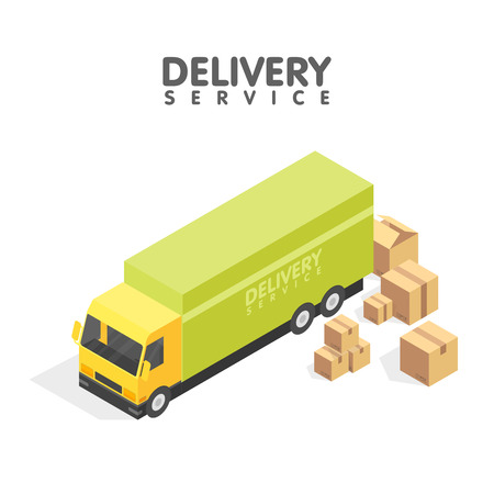 Isometric delivery car and set of cardboard boxes. Isometric illustration. Delivery service concept.