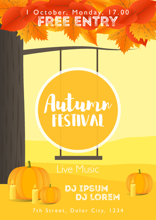 Fall Festival template. Bright colourful autumn landscape on vertical background. Template for holidays, concerts and parties. Autumn theme.