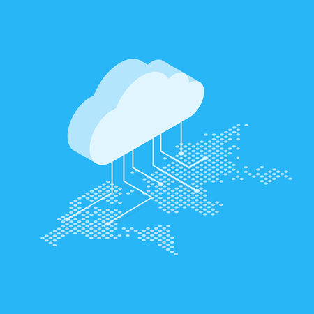 Isometric illustration showing the concept of cloud computing. From the cloud in the world map. Stock Illustratie
