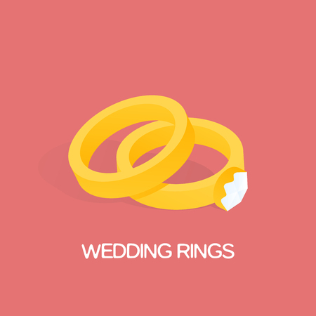 golden ring: Golden ring and ring with big, shiny diamond illustration.