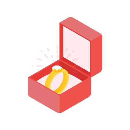 Wedding diamond ring in a box. illustration.