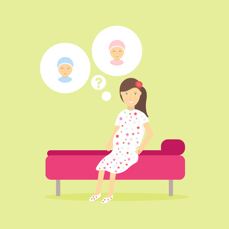 joy of life: Cute pregnant woman dreaming about her future children. Concept design of the isolated character of women think a boy or girl. The joy of motherhood and caring for a new life.