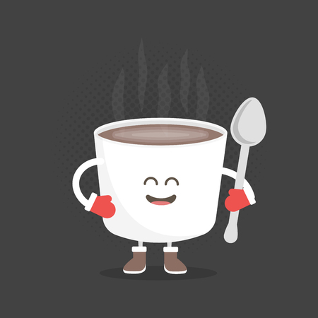 winter hat: Kids restaurant menu cardboard character. Christmas and New Year winter style. Funny cute mug coffee drawn with a smile, eyes and hands. Dressed in Santa hat and warm gloves.