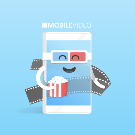 cinematic: Smartphone 3d glasses with popcorn concept watch videos online movie theater. Cute Cartoon character phone with hands, eyes and smile. Illustration