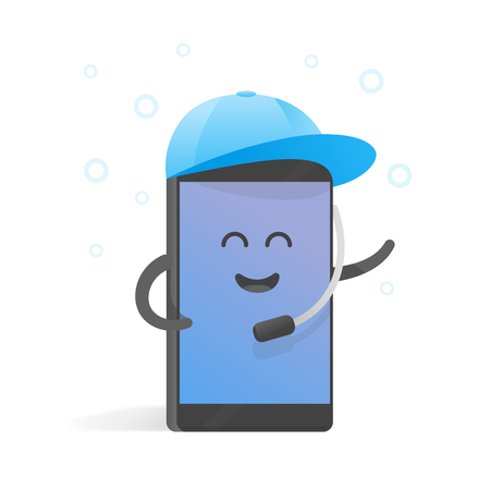 accepts: Smartphone concept manager accepts calls in cap with microphone. Cute Cartoon character phone with hands, eyes and smile.