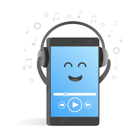 Smartphone concept of listening to music on headphones. Background of notes. Cute cartoon character phone with hands, eyes and smile.