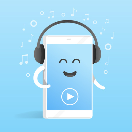 ringtones: Smartphone concept of listening to music on headphones. Background of notes. Cute cartoon character phone with hands, eyes and smile.