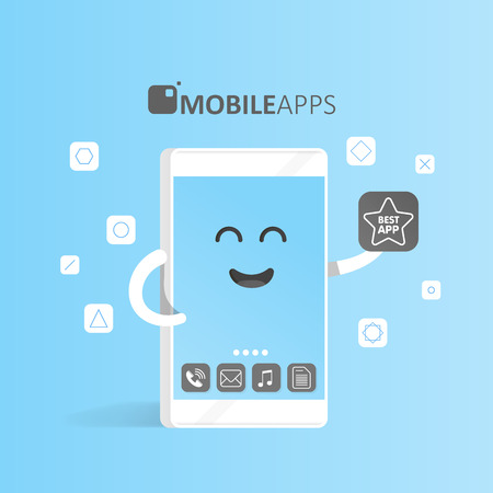 aplication: Smartphone concept of online app market, purchase, presentation and selection of applications. Cute Cartoon character phone with hands, eyes and smile.