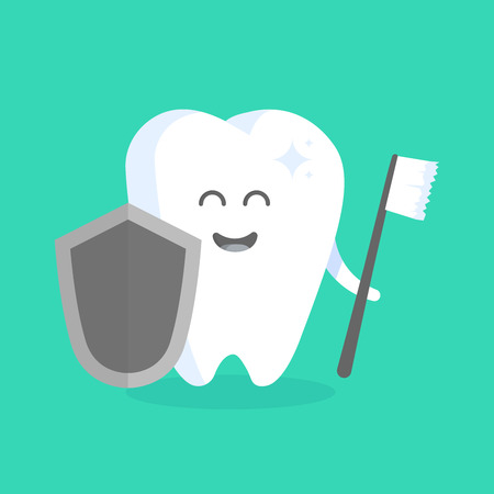 personage: Cute cartoon tooth character with face, eyes and hands. The concept for the personage of clinics, dentists, posters, signage, web sites.