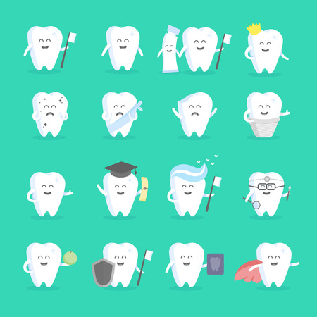 signage: Cute cartoon tooth character set with face, eyes and hands. The concept for the personage of clinics, dentists, posters, signage, web sites.