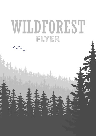 coniferous forest: Wild coniferous forest flyer background. Pine tree, landscape nature, wood natural panorama. Outdoor camping design template. Vector illustration Vectores