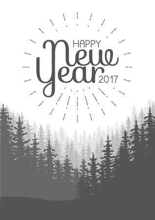coniferous forest: Feliz Año Nuevo Flyer. Fondo del bosque de coníferas salvaje. pino, paisaje de la naturaleza, madera panorama natural. ilustración vectorial