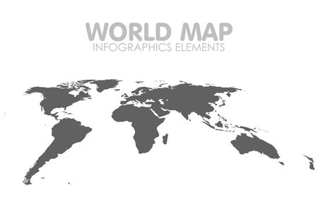 Grey Political World Map isolated Illustration.